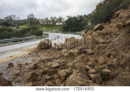 Winter storm landslide blocking Santa Susana Pass Road in the City of Los Angeles, California.