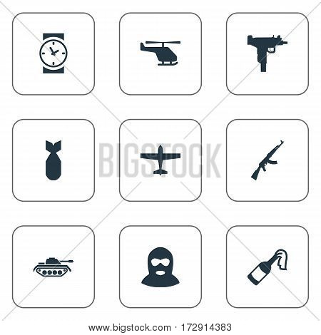 Set Of 9 Simple Terror Icons. Can Be Found Such Elements As Molotov, Kalashnikov, Air Bomber And Other.