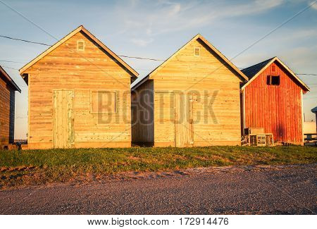 Wooden fishing shacks in prince edward island