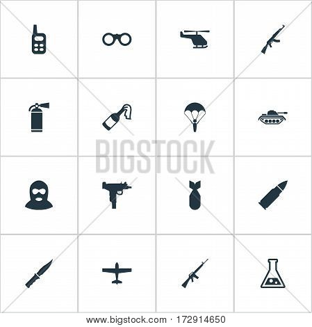 Set Of 16 Simple Battle Icons. Can Be Found Such Elements As Chemistry, Helicopter, Nuke And Other.
