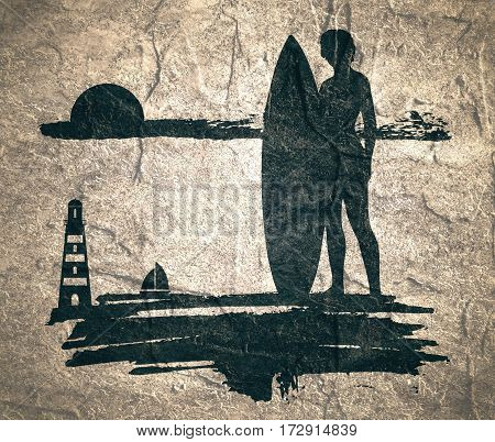 Woman posing with surfboard. Monochrome silhouette. Vintage Surfing Graphic and Emblem for web design or print. Lighthouse and yacht on backdrop. Concrete textured.