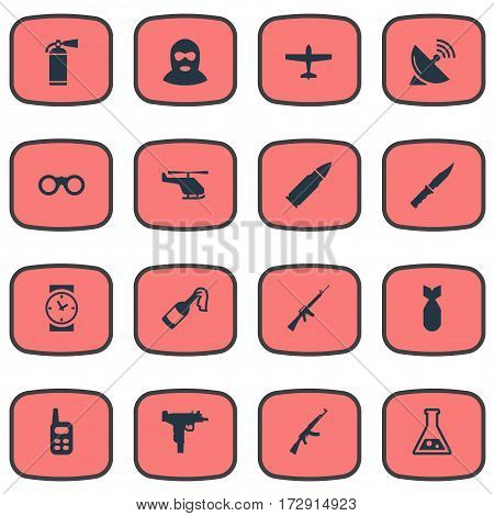 Set Of 16 Simple Military Icons. Can Be Found Such Elements As Walkies, Signal Receiver, Watch And Other.