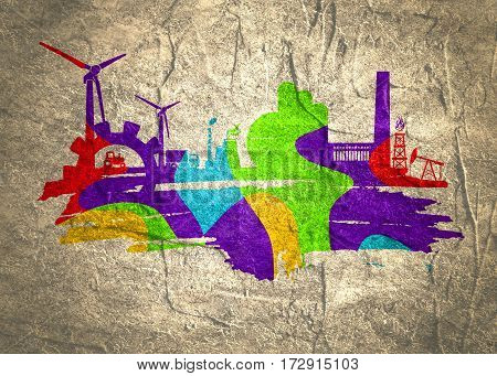 Energy and Power icons set and grunge brush stroke. Energy generation and heavy industry relative image. Agriculture and transportation. Concrete textured. Multicolor painting