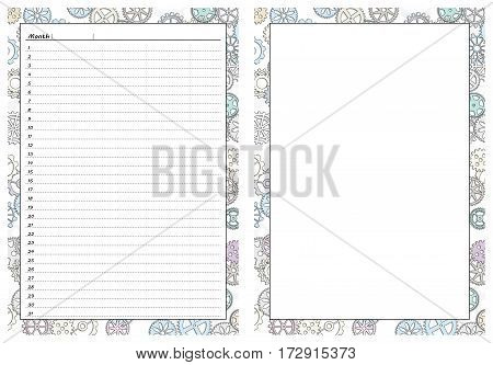 Set of pages template for daily planner. Printable for scrapbook. Gears design. Part 4. Page for every day in month notes and empty sheet with border. Vector illustration.