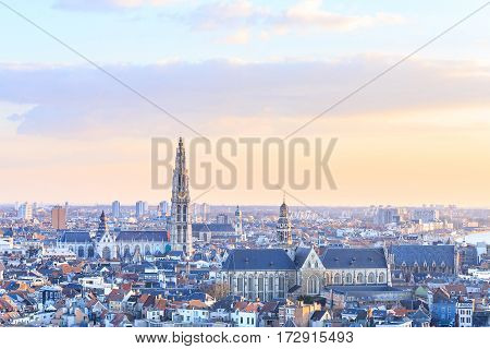 View over Antwerp with cathedral of our lady taken Belgium