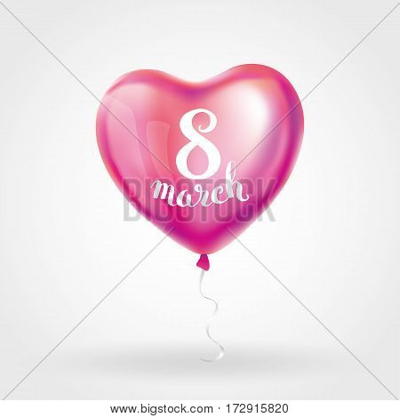 Heart pink balloon 8 march womens day. Frosted party balloons event design. Balloons isolated in the air. Party decorations for , celebration, love. Shine metallic red balloon. Eight march day