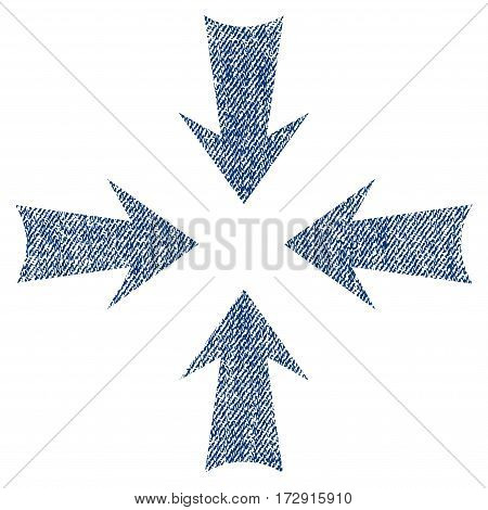 Reduce Arrows vector textured icon for overlay watermark stamps. Blue jeans fabric vectorized texture. Symbol with scratched design. Blue ink rubber seal stamp with fiber textile structure.