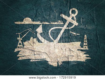 Cargo port relative icons set. Sketch style illustration. Grunge brush stroke. Concrete textured.