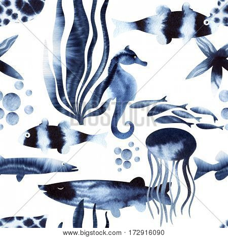 Seamless watercolor pattern, Sea Life