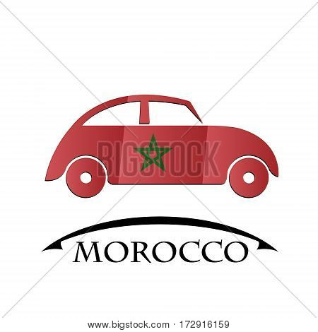 car icon made from the flag of Morocco