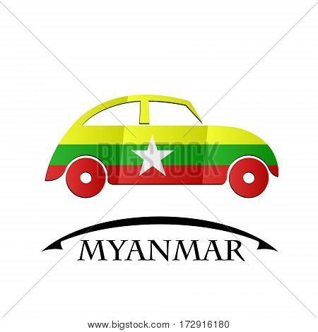 car icon made from the flag of Myanmar