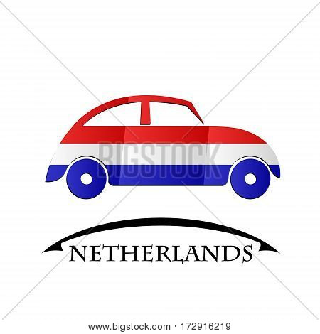 car icon made from the flag of Netherlands