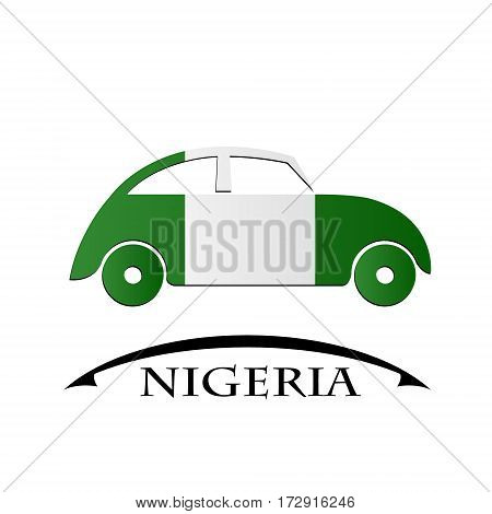 car icon made from the flag of Nigeria