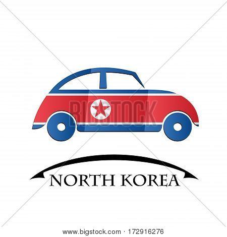 car icon made from the flag of North Korea