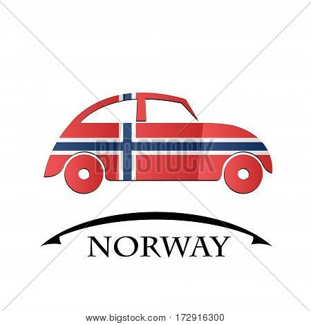 car icon made from the flag of Norway