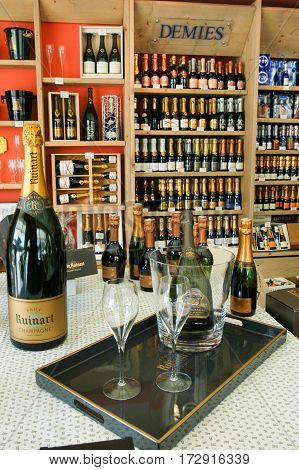 Champagne Shop At Reims On France