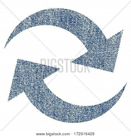 Refresh Arrows vector textured icon for overlay watermark stamps. Blue jeans fabric vectorized texture. Symbol with unclean design. Blue ink rubber seal stamp with fiber textile structure.