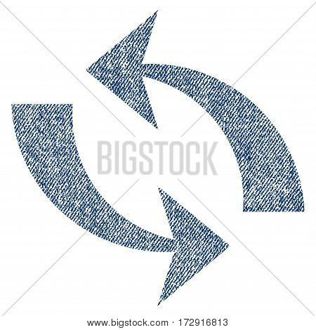Refresh vector textured icon for overlay watermark stamps. Blue jeans fabric vectorized texture. Symbol with unclean design. Blue ink rubber seal stamp with fiber textile structure.
