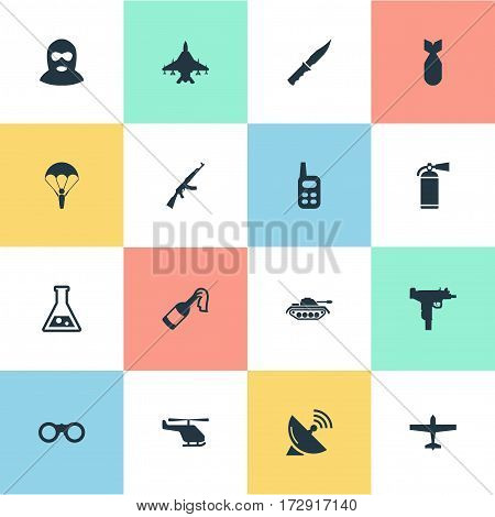 Set Of 16 Simple Army Icons. Can Be Found Such Elements As Molotov, Paratrooper, Terrorist And Other.