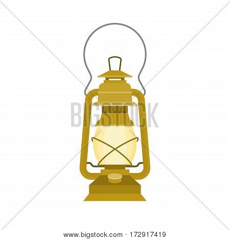 vintage kerosene glass lamp, flat design vector