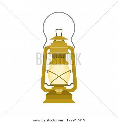 vintage kerosene glass lamp, flat design vector