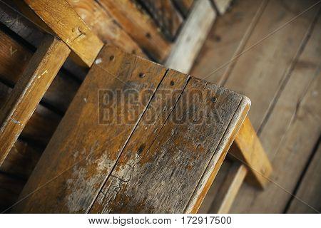 Wooden Bench On Wooden Floor