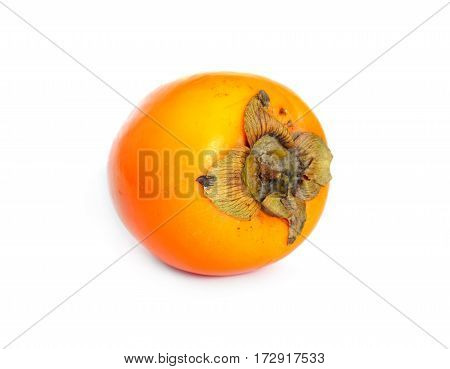 Still life with ripe big persimmon isolated studio shot front view closeup