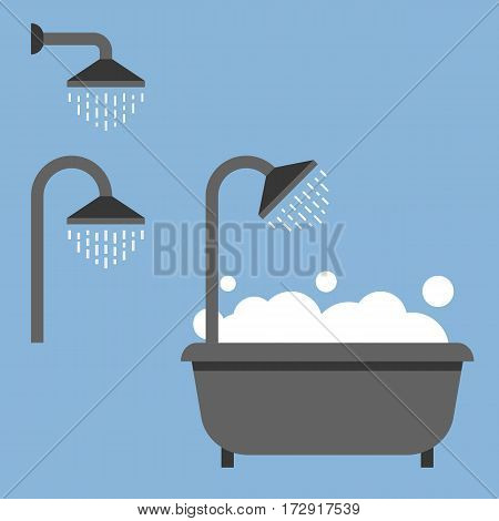 Bath tub and shower icon, flat style icon