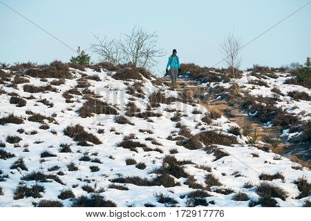 Hiker Walking Downhill In Nature Reserve During Winter.