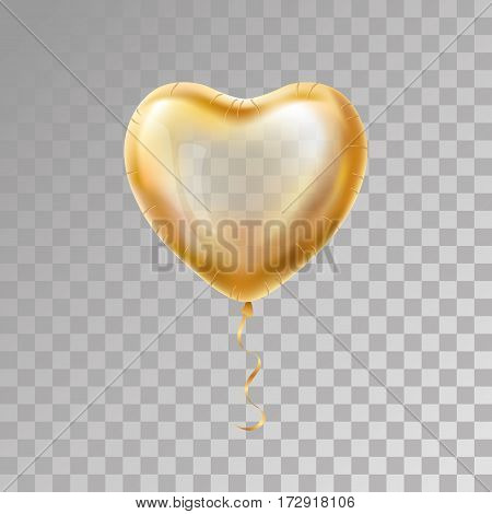 Heart Gold balloon on background. Frosted party balloons event design. Balloons isolated in the air. Party decorations wedding, birthday, celebration, love, valentines. Shine transparent balloon