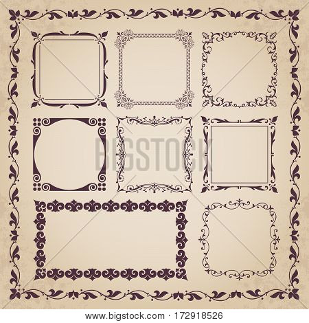 Decorative calligraphic frames in vintage style - vector set
