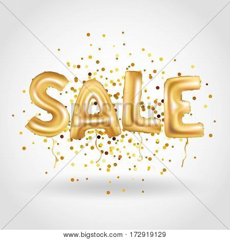 Gold sale balloons background on red store banners, advertising, shopping. Logo, logotype, sign, symbol. Sale text balloons, selling, web banner header. Abstract golden balloon special offer, price