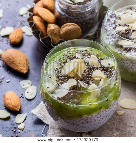 Chia Seed Pudding With Almond Milk And Fresh Fruit Topping