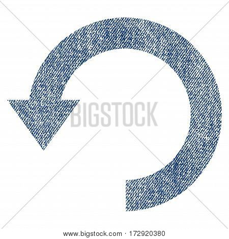 Rotate Down vector textured icon for overlay watermark stamps. Blue jeans fabric vectorized texture. Symbol with dust design. Blue ink rubber seal stamp with fiber textile structure.