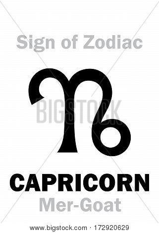Astrology Alphabet: Sign of Zodiac CAPRICORN (The Mer-Goat). Hieroglyphics character sign (single symbol).