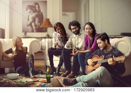 Friends playing a song