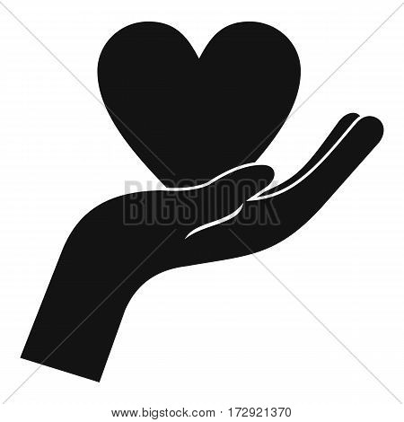 Hand holding heart icon. Simple illustration of hand holding heart vector icon for web