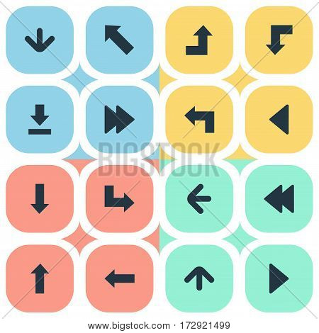 Set Of 16 Simple Pointer Icons. Can Be Found Such Elements As Advanced, Pointer, Pointer And Other.
