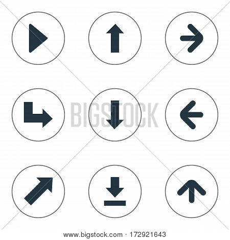 Set Of 9 Simple Cursor Icons. Can Be Found Such Elements As Let Down, Right Direction, Upward Direction And Other.