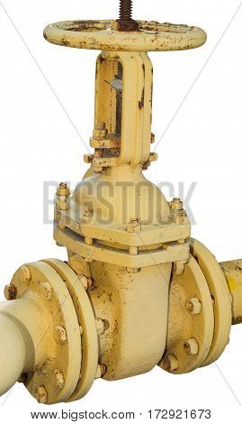 the Rusted valve on a white background