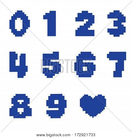 The numbers on a white background in a pixel design