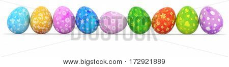 colorful easter eggs in a row isolated on white