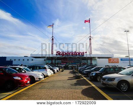 Superstore with skyline view at Vancouver,BC Canada