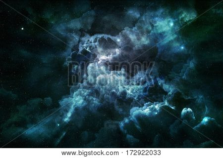 blue nebula and cosmic dust in starry sky