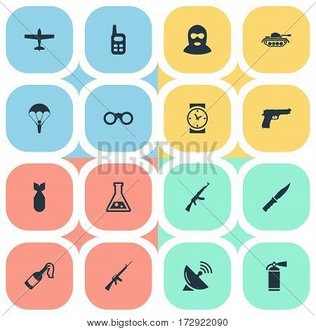 Set Of 16 Simple Military Icons. Can Be Found Such Elements As Rifle Gun, Watch, Molotov And Other.