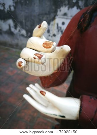 Close up of Buddha hands in Asia country