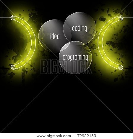 Abstract background with the words idea; programing; coding