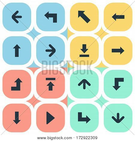 Set Of 16 Simple Cursor Icons. Can Be Found Such Elements As Reduction, Right Landmark, Downwards Pointing.