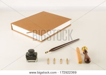Photo picture of an antique ink fountain pen background