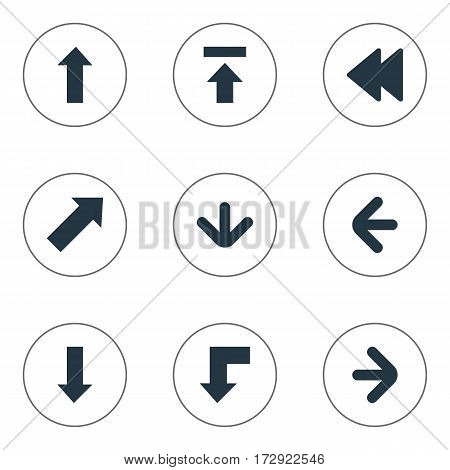 Set Of 9 Simple Indicator Icons. Can Be Found Such Elements As Downwards Pointing, Right Direction, Upward Direction And Other.